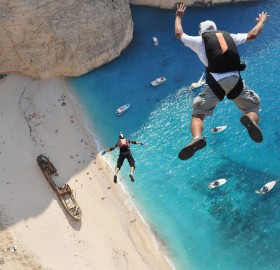 free fall off a cliff, zakynthos, greece