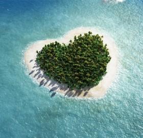 heart shaped tropical island
