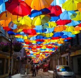 umbrella street in aveiro, portugal