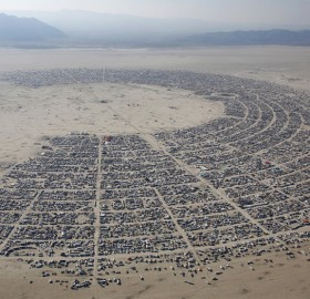 """aerial view of the """"burning man"""" music festival"""
