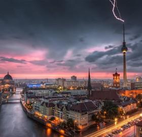 thunderstorm over berlin, germany