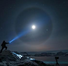 flashlight beam on the moon