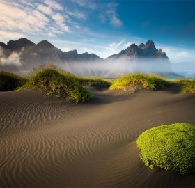 fog over black sand beach, iceland