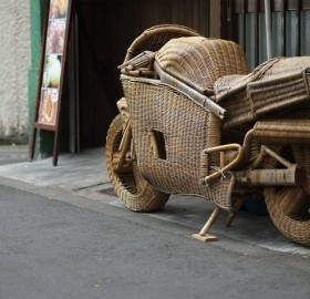 motorcycle made from basket weave