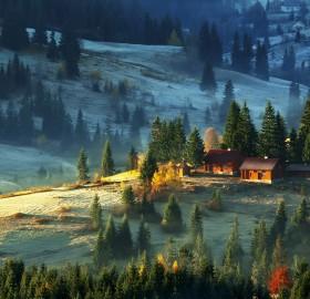 the farm on carpathian mountains