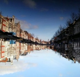 refelction in the water. leiden, holland