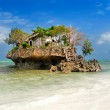 small fish restaurant on rock at sea, zanzibar