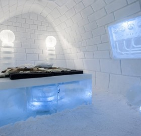 ice hotel room, sweden