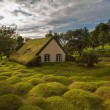 little church made from wood and peat, iceland