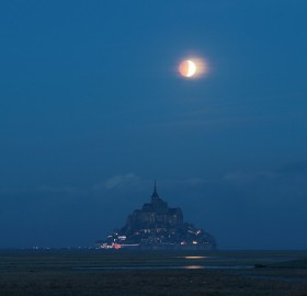 lunar eclipse over normandy, france