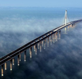 world`s longest bridge, jiaozhou bay, china