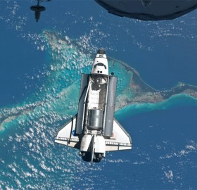 atlantis space shuttle orbiting earth