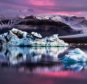 icebergs at dusk, iceland