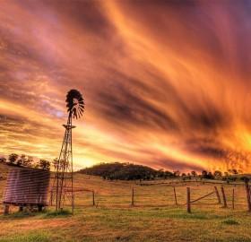 sunset over rural australia