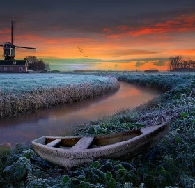 frosty field, holland