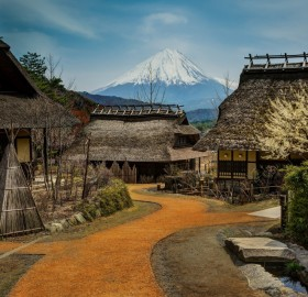 small village bellow mount fuji, japan