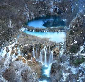 waterfalls of plitvice lake in winter, croatia