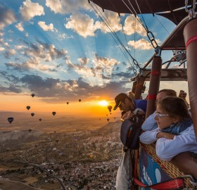 sunrise during balloon tour, turkey