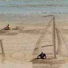 awesome 3D beach art, new zealand
