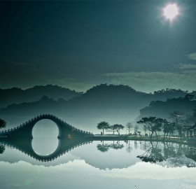 bridge over calm waters, china