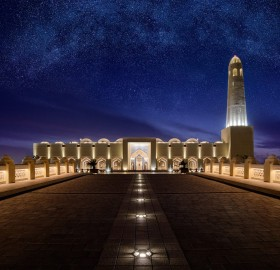 grand mosque under stars, doha, qatar