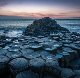 interlocking basalt columns, northern ireland coast