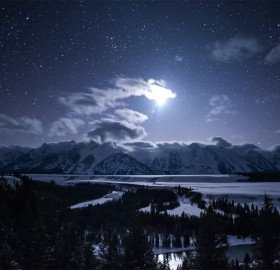 moonlit teton range, wyoming