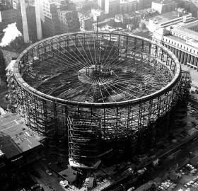 construction of madison square garden, new york, 1966