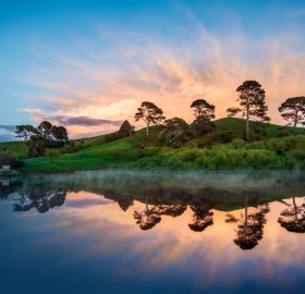 hobbiton in the morning, new zealand