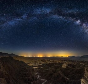milky way over california canyons