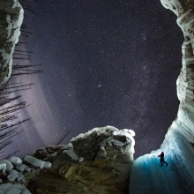 night ice climbing, haffner creek kootenay