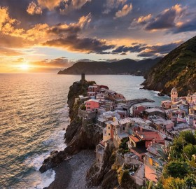 sunset in vernazza, italy