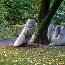 the caring hand sculpture, switzerland