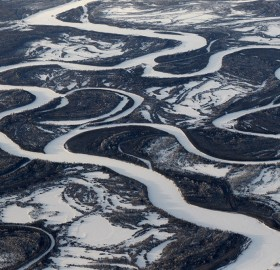 aerial view of kamchatka river, russia
