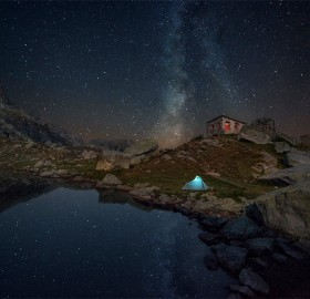 camping below night sky of bulgaria
