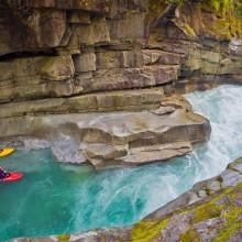 kayakers in ashlu creek, canada