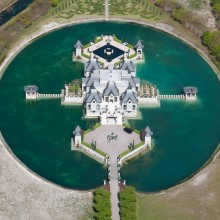 private castle surrounded by water, miami