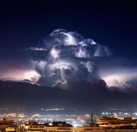storm over cagliari, italy