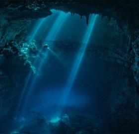 underwater maya ruins cave, mexico