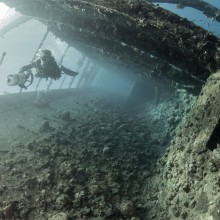 diving inside shipwreck