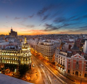 madrid at sunset, spain