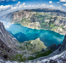 very high drop at nesatind, lysefjorden, norway