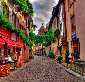 lovely sreet of freiburg, germany