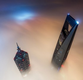 shanghai tower above fog