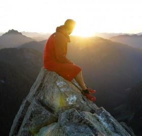 watching a sunrise, north shore mountains, british columbia
