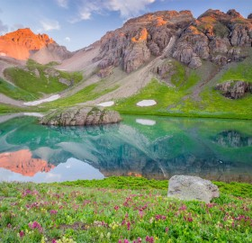 crystal blue lake in the san juan mountains, colorado