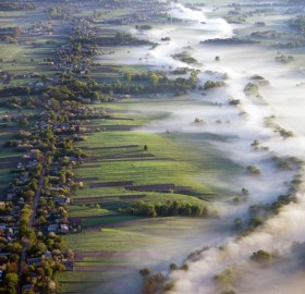 fog over fields, ukraine