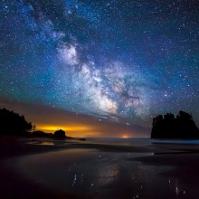 milky way over second beach, washington