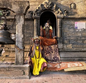 sadhus of pashupatinath temple, nepal