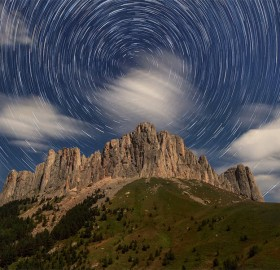 startrails over dolomites, italy